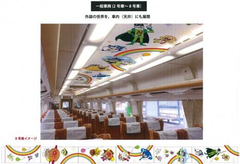 「予讃線8000系アンパンマン列車」2~8号車イメージ
