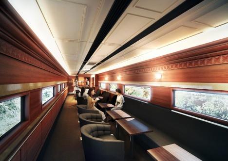 近鉄南大阪線・吉野線の観光特急列車「青の交響曲」ラウンジ車両イメージ