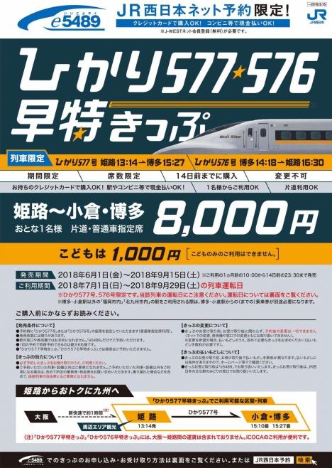 ひかり レールスター 576号・577号 早得きっぷ 割引