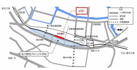 高輪ゲートウェイ駅の位置(2016/09/06 JR東日本ニュースリリースより)