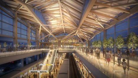 高輪ゲートウェイ駅舎内イメージ図:大屋根を照らし柔らかな光に包まれたコンコース(2018/12/04 JR東日本ニュースリリースより)