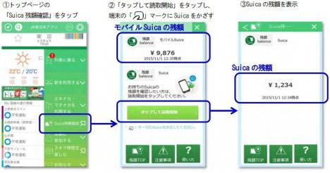 JR東日本アプリ Suica 残高確認