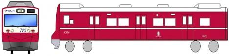 台鉄で運行する赤い電車のラッピングイメージ