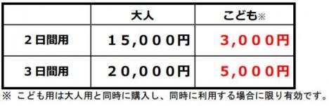 「30周年記念!ネット九州パス」のねだん(JR九州ニュースリリースより)