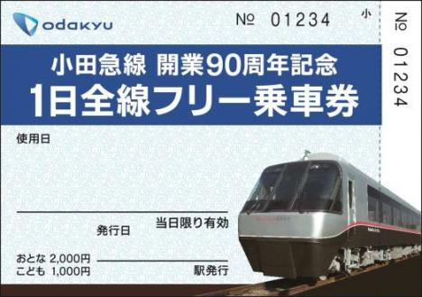 「小田急線開業90周年記念1日全線フリー乗車券」券面イメージ