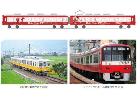 高松琴平電鉄、京急カラーのラッピング車両を運行へ(京急電鉄ニュースリリースより)