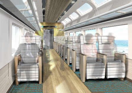 新型観光特急「E261系」5~8号車グリーン車(JR東日本ニュースリリースより)