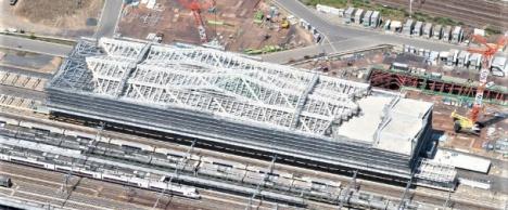 2018年5月時点品川新駅(仮称)工事写真 (JR東日本ニュースリリースより)