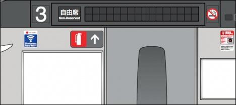 N700 系における「Shinkansen Free Wi-Fi」ステッカーの掲出イメージ