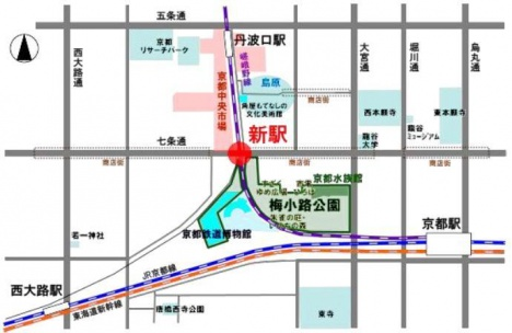 「梅小路京都西」駅位置図
