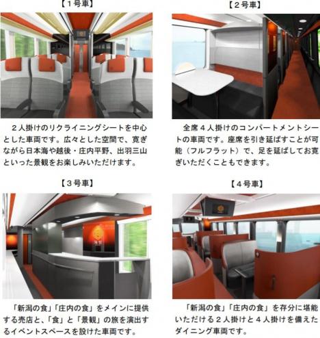 観光列車 海里 車内イメージ(JR東日本新潟支社ニュースリリースより)