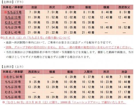 2019/3/16ダイヤ改正時から「Laview」で運行する列車のダイヤ・時刻表(休日)