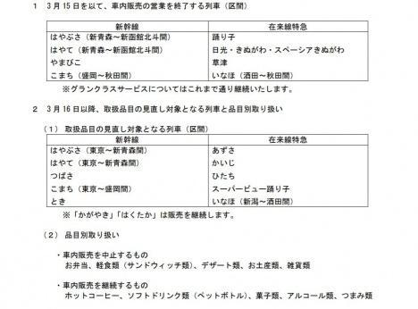 車内販売の営業を終了する列車・取扱品目の見直し対象となる列車(JR東日本ニュースリリースより)