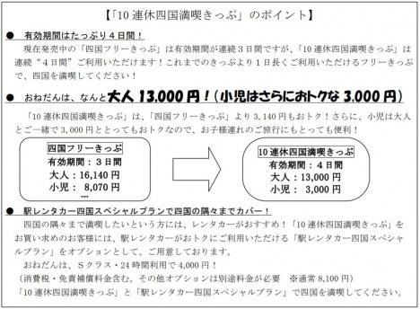 「10連休四国満喫きっぷ」のポイント(JR四国ニュースリリースより)