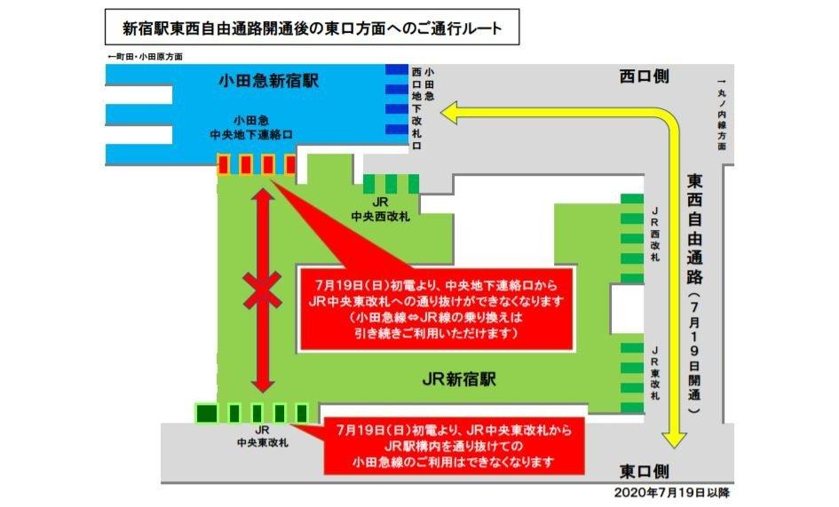 小田急線から新宿駅東口方面への通行ルート変更について